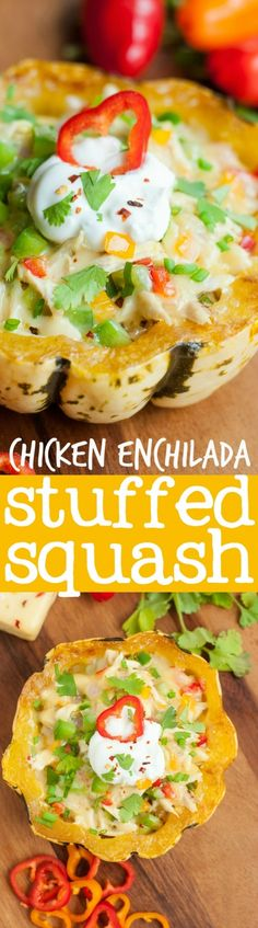 Cheesy Chicken Enchilada Stuffed Squash