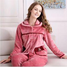 929eec19fd Coral fleece Pajamas suit women Thickening fabric Warm winter Pajamas  bathrobe two suit Soft comfortable Long sleeved Pajamas