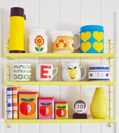 Sure I've pinned this before - but they are my dream shelves! from Fargefest #vintage #kitchen #retro
