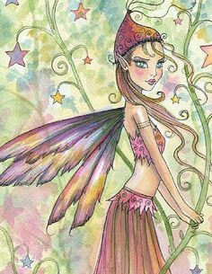 Fairy art by Molly Harrison Star Garden Magical Creatures, Fantasy Creatures, Mermaid Mythology, Fairy Drawings, Fable, Elves And Fairies, Fairy Pictures, Fairy Coloring, Beautiful Fairies
