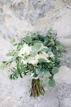 Mediterranean greenery wedding on Lake Garda- Mediterrane Greenery Hochzeit am Gardasee Bridal Bouquet Eucalyptus Greenery – - White Wedding Decorations, Diy Wedding Flowers, Floral Wedding, Green Wedding, Summer Wedding, Simple Wedding Bouquets, Wedding Greenery, Simple Church Wedding, Rustic Wedding