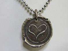 Solid Sterling Silver Heart Wax Seal Style - Artisan Made - Sterling Silver Ball Chain Necklace - Birthstone Charm - Personalize -Customize on Etsy, $30.00