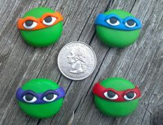 OOAK - TURTLES - TMNT -  Polymer Clay Bow Centers. $14.00, via Etsy.