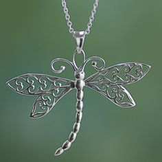 Sterling Silver Jewelry Sterling Silver Dragonfly Pendant Necklace from India - Sterling Silver Dragonfly Pendant Necklace from India Dragonfly Jewelry, Dragonfly Pendant, Beaded Dragonfly, Sterling Silver Pendants, Sterling Silver Necklaces, Silver Earrings, Silver Jewellery, Silver Bracelets, Diamond Jewelry