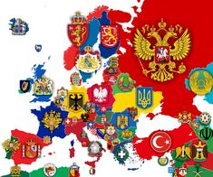 Map of Europe with every country's Coat of Arms/National Emblem. Armadura Medieval, World Geography, Ukrainian Art, Alternate History, Historical Maps, European History, European Map, British History, Flags Of The World
