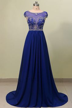 Long Beaded Bodice prom dresses,evening gowns,royal blue prom