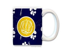 White/Navy Blossom Coffee Mug from Paper Concierge
