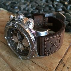 2012 Breitling Super Avenger, handmade leather strap with one treatment of Obenauf's Heavy Duty LP.