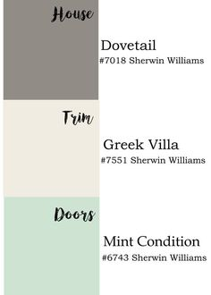 Exterior paint colors by Sherwin Williams: dovetail, Greek villa and mint condition.