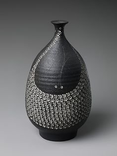 Kondō Yutaka (Japanese, 1932–1983) | Vase | 1982, Japan | Stoneware with stamped design and black glaze