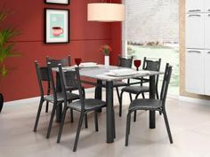 Conjunto de Mesa com 6 Cadeiras Ciplafe - Poeme