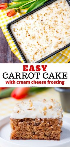 This delicious and easy carrot cake is moist and tender. This recipe is made with pineapple, shredded carrots, and walnuts and topped with a sweet-tangy cream cheese frosting. It's the best and so perfect for Easter and other spring celebrations. Spring Desserts, Spring Recipes, Easy Desserts, Dessert Recipes, Carrot Cake Frosting, Easy Carrot Cake, Carrot Cakes, Cake With Cream Cheese, Cream Cheese Frosting