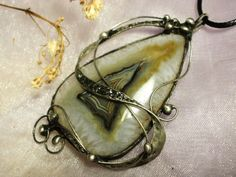 Agate Gemstone Pendant made with Tiffany technique, Healing Stone by NellanyArt on Etsy
