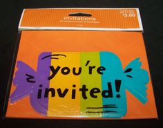 """Halloween Party Candy Invitations Die-cut 10 Count Striped 6"""" #Target #Halloween"""