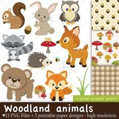 Woodland Animals  Clip art and Digital paper von pixelpaperprints