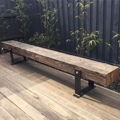 One of our bench seats looking good in its new home. These timbers were originally installed as a wharf in 1925 in Melbourne. One of our bench seats looking good in its new home. These timbers were originally installed as a wharf in 1925 in Melbourne. Industrial Furniture, Rustic Furniture, Garden Furniture, Diy Furniture, Furniture Removal, Furniture Online, Industrial Outdoor Decor, Vintage Industrial, Furniture Making
