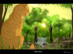 Warrior cats by Erin Hunter, art by Mizu-no-Akira. Sunfall and Bluekit.