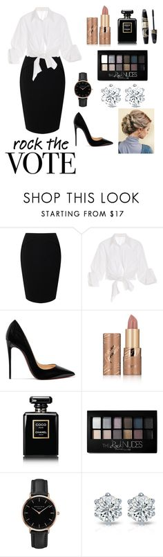 """""""Rock the Vote"""" by simone89 ❤ liked on Polyvore featuring Jacques Vert, Johanna Ortiz, Christian Louboutin, tarte, Chanel, Max Factor, Maybelline and Topshop"""