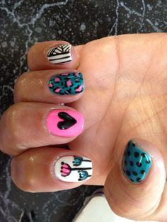 Nail shellac gelish gel nails nail art teal pink white black neon  heart cheetah stripes polka dots