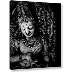 ArtWall Elena Ray Buddha Gallery-wrapped Canvas, Size: 36 x 48, Silver