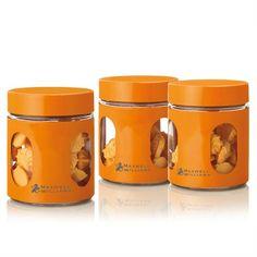 Maxwell & Williams Cosmopolitan Colours Canister Set 3 Orange 600ML - Kitchenware-Homeware - TopBuy.com.au