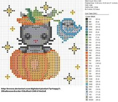 Super adorable free Cat In Pumpkin cross stitch pattern by carand88 on deviantART. #Halloween #cross_stitch #patterns