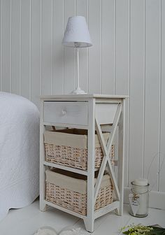 Large Cape Cod bedside table in white wash drawers. Affordable bedside tables, great range of sizes and styles with fast delivery from The White Lighthouse