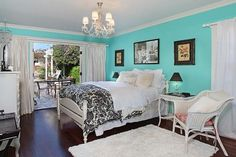 Tiffany blue as accent wall