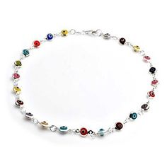 Bling Jewelry Multi Color Anklet Sterling Silver Evil Eye Ankle Bracelet 10in * See this great product
