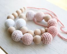 Nursing necklace / Teething necklace  White Pale pink by SvetlanaN, $26.00 #teething necklace #nursing necklace #wooden #natural #gift for new mom #white #pale pink #romantic #crochet #shabby chic