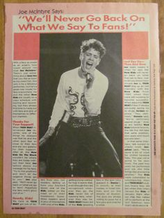 New Kids on the Block, Joey Joe McIntyre, Full Page Vintage Clipping