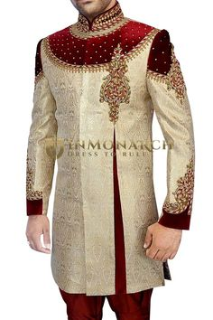 Sherwani for Men Wedding Golden Indo Western Glorious Designer Sherwani Sherwani For Men Wedding, Wedding Dresses Men Indian, Sherwani Groom, Wedding Dress Men, Wedding Men, Indian Fashion Modern, Indian Bridal Fashion, Nigerian Men Fashion, Latest African Fashion Dresses