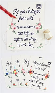 Come over an customize these cute Instagram wedding hashtag signs! Have your guests hashtag their photos so you can see all the fun! Love these! Created be Behold Designz.  www.weddingchicks.com/freebies/wedding-signs-labels/instagram-wedding-signs/