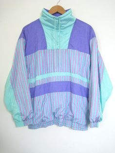 Vintage 90s PASTEL Windbreaker Pullover Turquoise by TheSavvyBum, $32.00
