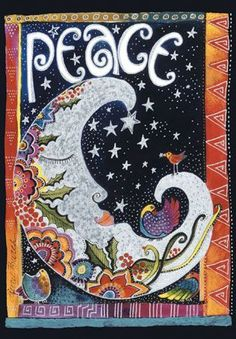 """""""Peace"""" -- part of Laurel Burch Playful Creations collection of writing journals Laurel Burch, Sun Moon Stars, Sun And Stars, Journal D'art, Sketch Journal, You Are My Moon, Hippie Peace, Moon Magic, Peace On Earth"""