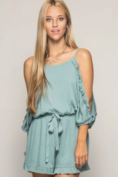 Cold Shoulder Ruffle Romper with Waist Tie