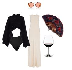"""""""Fan of a fan"""" by astrro ❤ liked on Polyvore featuring Christian Dior, Brock Collection, SPANX, Riedel and Charlott"""