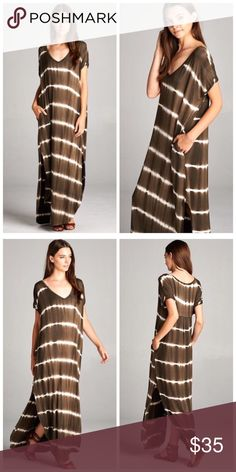 Boho Olive Tie Dye Oversize Maxi w/pockets S M L Best Selling Maxi!!! Olive Tie Dye side slit maxi dress, pockets, very loose oversize fit, can fit up to a size 16, consider sizing down if you don't prefer an oversized loose fit.  Available in size Small,  Medium, or Large. ARRIVING TUESDAY/SHIPPING WEDNESDAY!! No Trades, Price Firm unless Bundled.  BUNDLE 3 OR MORE ITEMS FOR 15 % OFF. Boutique Dresses Maxi