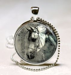 Horse Necklace Equestrian Jewelry Nature Animal Black and White Art Pendant with Ball Chain Included on Etsy, $9.95