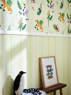 Decoradores e interioristas siguen apostando por la combinacion de dos papeles pintados para los dormitorios infantiles! https://papelvinilicoonline.com/es/195-esprit-kids-4