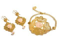 set of Neo Classic Rose quartz Metal Lace Bracelet and earrings.