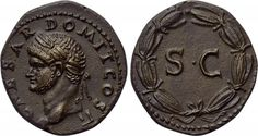 DOMITIAN (Caesar, 69-81).  As. Rome, possibly for circulation in Syria. Obv: CAESAR DOMIT COS II.  Laureate head left. Rev: Large S C within wreath.