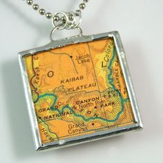 Grand Canyon Map Pendant by XOHandworks.com $20