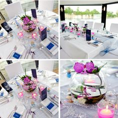 ... Bleu marine et rose on Pinterest  Mariage, Reception decorations and