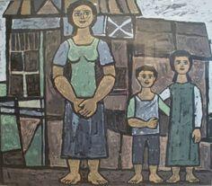 Φιλότεχνος :: Ζωγράφοι :: Γιώργος Σικελιώτης :: filotexnos.gr Greek Paintings, Greek Art, 10 Picture, Mother And Child, Painters, Printmaking, Folk Art, Mothers, Children