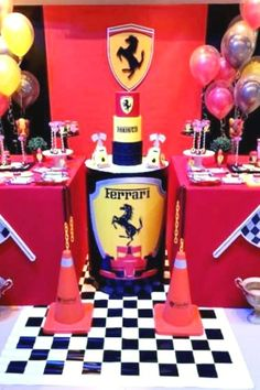 out this awesome Ferrari birthday party! The dessert table is amazing! See more party ideas and share yours at Check out this awesome Ferrari birthday party! The dessert table is amazing! See more party ideas and share yours at Cars Trucks Birthday Party, Race Car Birthday, Boy Birthday Parties, Themed Parties, Boy Party Favors, Birthday Party Invitations, Ferrari Party, Ferrari Cake, Lamborghini