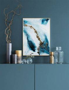 Into the Blue, poster with abstract blue and gold design from Desenio Interior Design Inspiration, Home Decor Inspiration, Painting Inspiration, Groups Poster, Poster Sizes, Blue Poster, Art Abstrait, Modern Art Prints, Interior Design Living Room