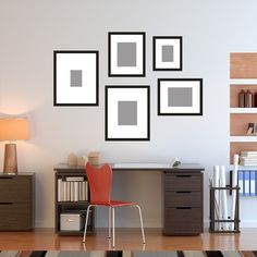 HI, FIVE. A lot of drama for a little investment. Two wide-mat frames give your display impact, three standard sizes make it practical. It's only one box of five frames, but your options are practically limitless. Mix with your own frames, a mirror, other interesting finds from your travels. Get 2 or 3, and run them up your staircase!  1 - Medium - 10x12 frame for 5x7* 2 - Large - 13x16 frame for 8x10* 1 - Pro - 16x20 wide mat frame for 8x10* 1 - Signature - 16x20 extra wide mat for 5x7