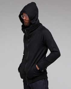 Double Collared Mid In Black #hoodie