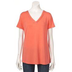 Women's Croft & Barrow® Banded V-Neck Tee, Size: XS, Lt Orange
